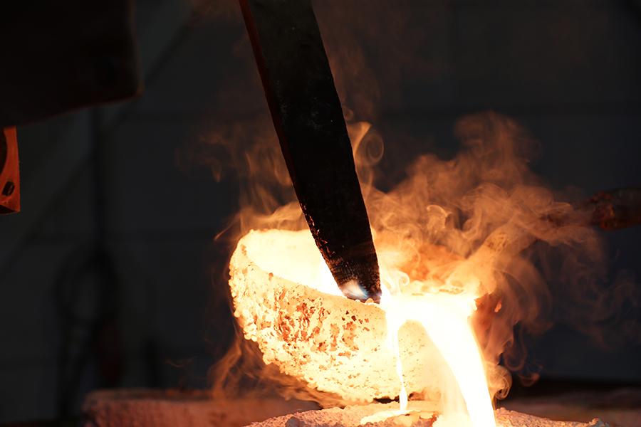 Detailopname bij bronsgieterij